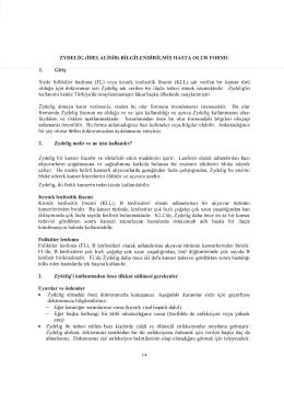 ZYDEL|G (IDELALISIB) BILGILENDIRILMIş HASTA OLUR FORMU l