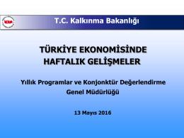 Ekonomik Gelişmeler - TC Kalkınma Bakanlığı +