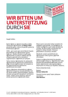 Sevgili Veliler, Berlin Eğitim ve öğretim Sendikası GEW, sözleşmeli