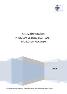 program ve ders bilgi paketi hazırlama kılavuzu - AKTS