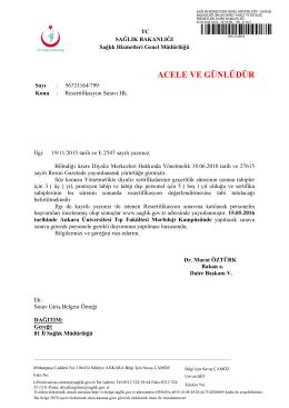 ACELE VE GÜNLÜDÜR - Ankara İl Sağlık Müdürlüğü