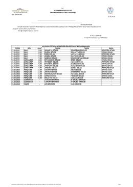 11.05.2016 11.05.2016 Tarihli Haftalık Futbol Programı TFF Bölge