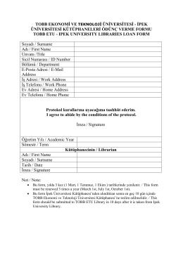 TOBB ETU Kütüphaneler Arası Ödünç Verme Protokol Formu