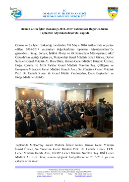 Orman ve Su İşleri Bakanlığı 2016-2019 Yatırımları Değerlendirme