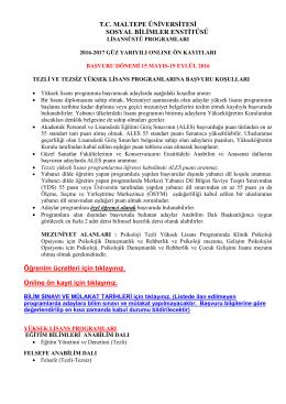 T.C. MALTEPE ÜNİVERSİTESİ SOSYAL BİLİMLER ENSTİTÜSÜ