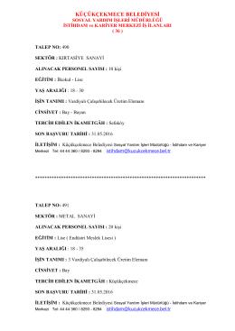 iş ilanları - Küçükçekmece Belediyesi