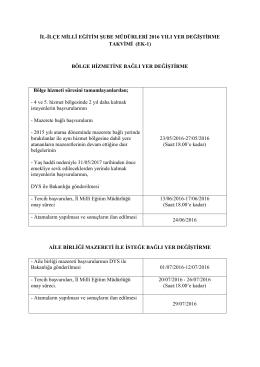 il-ilçe millî eğitim şube müdürleri 2016 yılı yer