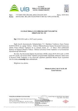ERTELEME. BELARUS İŞ KONSEYİ ORTAK TOPLANTISI HK