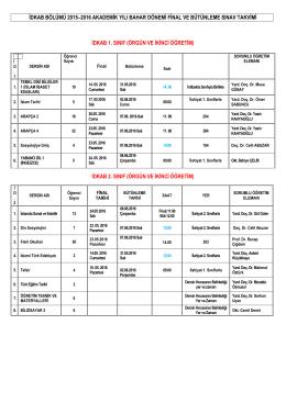 2015-2016 Bahar İDKAB Final Sınavı Tarihleri 09.05.2016