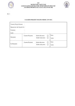 GMI Tasarım Projesi Tez Teslim Formu (TP-TEF)