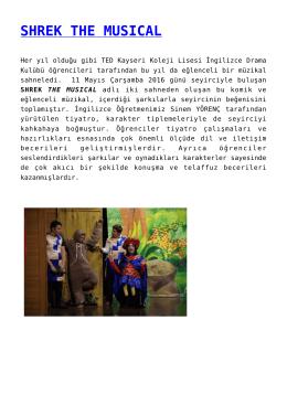 shrek the musıcal - TED Kayseri Koleji Vakfı Okulları