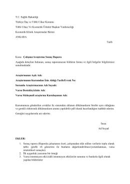 Kozmetik Klinik Araştırma Sonuç Raporu Formu