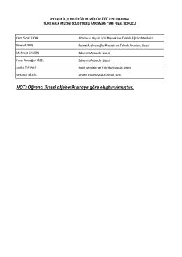 NOT: Öğrenci listesi alfabetik sıraya göre oluşturulmuştur.