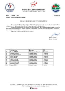 Yozgat - Türkiye Masa Tenisi Federasyonu