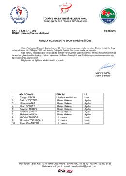 Aydın - Türkiye Masa Tenisi Federasyonu