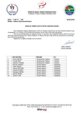 Eskişehir - Türkiye Masa Tenisi Federasyonu