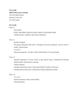 Ders içeriği SBR276 Rekreasyon Liderliği 2015