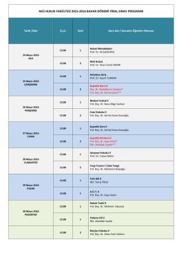 akü hukuk fakültesi 2015-2016 bahar dönemi final sınav programı