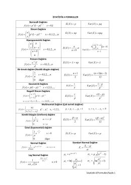 İstatistik II Vize, Quiz, Final imtihanlarında kullanılacak formuller