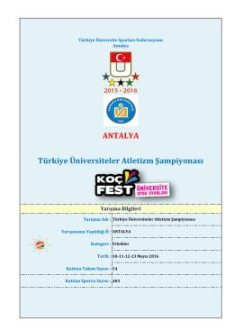 ANTALYA Türkiye Üniversiteler Atletizm Şampiyonası