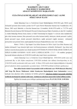 ceza infaz kurumları 657 4/b sözleşmeli aşçı alımı