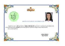 EREĞLİ FEN LİSESİ AYIN ÖĞRENCİSİ Ereğli Fen Lisesi 11/B sınıfı