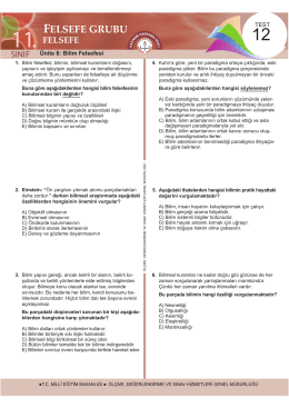 felsefe - Ölçme, Değerlendirme ve Sınav Hizmetleri Genel Müdürlüğü