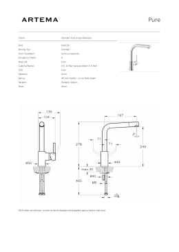Tanım Standart Pure Eviye Bataryası Kod A42136 Montaj Tipi