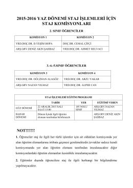 2015-2016 yaz dönemi staj işlemleri için staj komisyonları