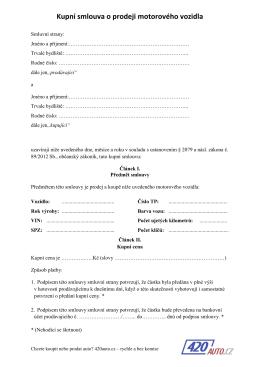 Kupní smlouva na auto od 1.1.2015 PDF
