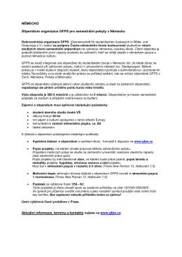 Stipendium organizace GFPS pro semestrální pobyty v