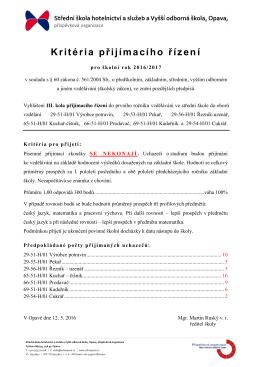 Vyhlášení III. kola přijímacího řízení do prvního ročníku vzdělávání