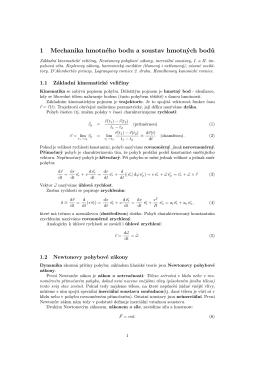 1 Mechanika hmotného bodu a soustav hmotných bodů