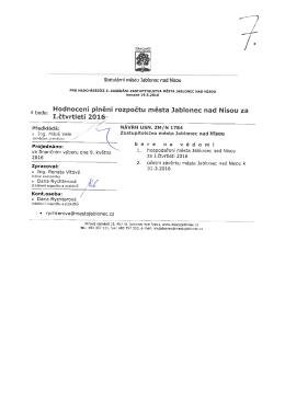 Plnění rozpočtu města Jablonec nad Nisou za I. čtvrtletí roku 2016