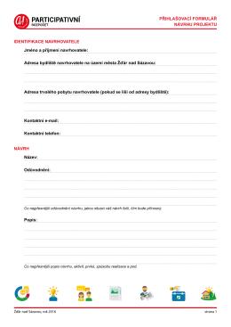 Přihlašovací formulář návrhu projektu