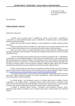 Průběžná informace Rejstříku trestů k evidenci přestupků