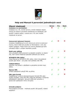 Help and Manual 6 porovnání jednotlivých verzí Hlavní