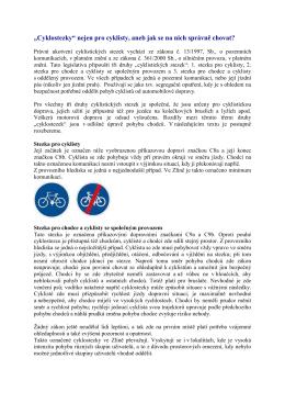 Cyklostezky nejen pro cyklisty, aneb jak se na nich správně chovat