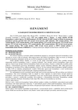 oznámení o zahájení územního řízení