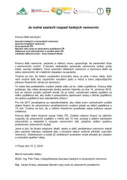 Je nutné zastavit rozpad českých nemocnic