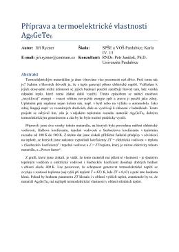 Příprava a termoelektrické vlastnosti Ag8GeTe6