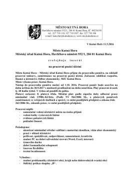 MĚSTO KUTNÁ HORA Město Kutná Hora Městský úřad Kutná Hora