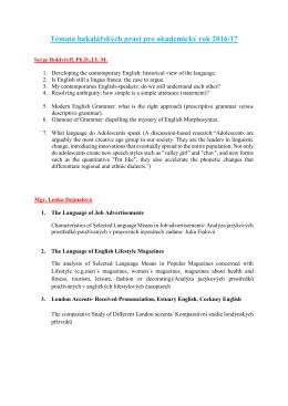 Témata bakalářských prací pro akademický rok 2016/17