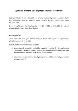 Vyhlášení druhého kola přijímacího řízení a jeho kritérií