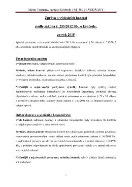 Zpráva o výsledcích kontrol za rok 2015