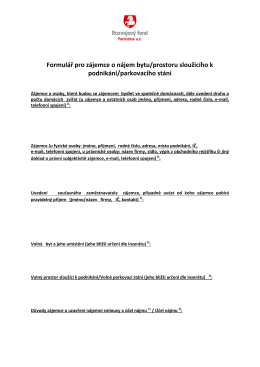 Formulář pro zájemce o nájem bytu/prostoru sloužícího k podnikání