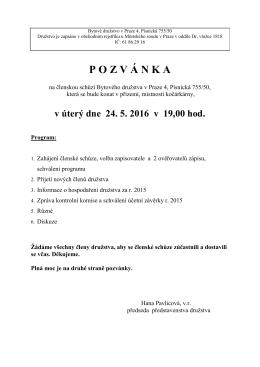 POZV Á NKA - Bytové družstvo v Praze 4, Písnická 755/50