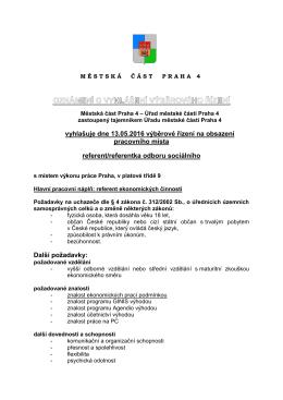referent / referentka odboru sociálního (13. 5. - 31. 5. 2016