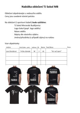 Nabídka oblečení TJ Sokol MB - TJ Sokol Moravské Budějovice