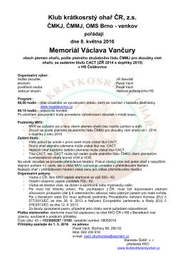 MVV propozice - Klub krátkosrstý ohař